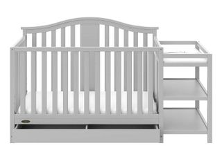 Graco Solano 4 in 1 Convertible Crib and Changer with Drawer  Pebble Gray