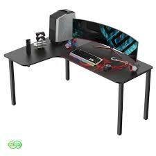 Eureka 60 Inch Computer Desk l Shaped Multi Function  Black