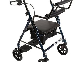 ProBasics Transport Rollator Walker With Seat and Wheels  Folding Walker And Transport Chair  Blue