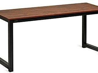 DECOHOlIC Modern Computer Desk 63 alarge Workstation Office Desk Computer Table Study Writing Desk for Office Home  with leg Bars  Industrial Style  Sandalwood Board Black leg