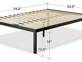 Zinus Quick Snap 18 inch Platform Bed Frame   Mattress Foundation   Wooden Slat Support  Full