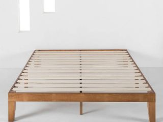 Mellow Naturalista Classic   12 Inch Solid Wood Platform Bed With Wooden Slat  Queen