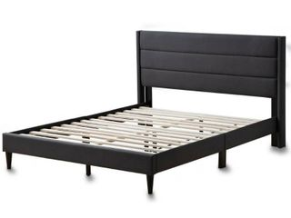 Brookside Sara Upholstered Bed with Horizontal Channels   Charcoal   King