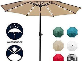 Sunnyglade 9  Solar 24 lED lighted Patio Umbrella with 8 Ribs Tilt Adjustment and Crank lift System  light Tan