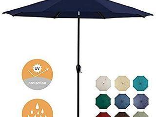 Tempera 10ft Patio Umbrella Outdoor Garden Table Umbrella with Crank and Auto Tilt Function 8 Steel Ribs in 200G Navy Olefin