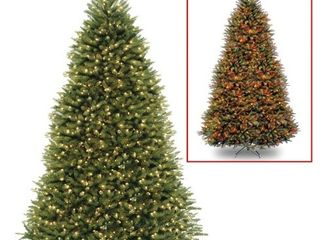 9ft National Tree Company Pre lit Dunhill Fir Hinged Full lED Artificial Tree with 900 low Voltage Dual led lights with 9 Function Footswitch