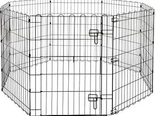 AmazonBasics Foldable Metal Pet Dog Exercise Fence Pen With Gate   60 x 60 x 48 Inches