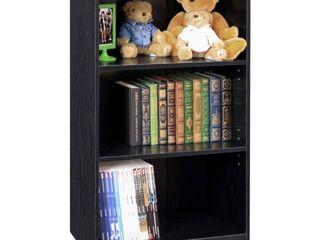 Furinno JAYA Simple Home 3 Tier Adjustable Shelf Bookcase  Blackwood