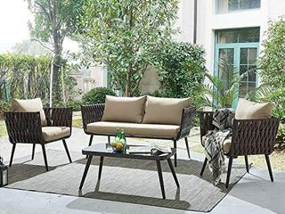 Barton Polyethylene Wicker Outdoor Sofa Set with Thick Cushions  Garden Furniture   INCOMPlETE SET  loveseat Base   2 Chair Bases