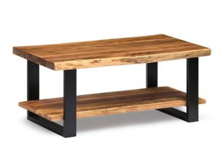 Alpine live Edge Solid Wood Rectangle Coffee Table  Natural   Incomplete  Wood Pieces Only
