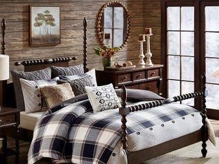 Madison Park Signature Urban Cabin King 9 Piece Cotton Jacquard Comforter Set Bedding