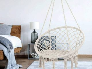 Y  STOP Hammock Chair Macrame Swing   Max 330 lbs Hanging Cotton Rope Hammock Swing Chair for Indoor and Outdoor Use  Beige