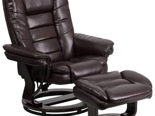 Flash Furniture Contemporary Multi Position Recliner with Horizontal Stitching and Ottoman with Swivel Mahogany Wood Base in Brown leatherSoft