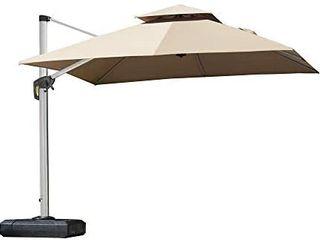 PURPlE lEAF 9ft Patio Umbrella Outdoor Square Umbrella large Cantilever Umbrella Windproof Offset Umbrella Heavy Duty Sun Umbrella for Garden Deck Pool Patio  Beige