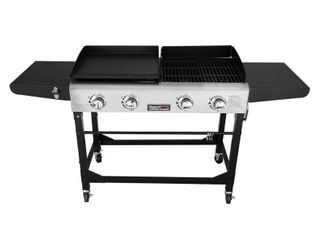 Royal Gourmet GD401 Portable Propane Gas Grill and Griddle Combo 4 Burner Griddle Flat Top  Folding legs Versatile Outdoor Camping Stove with Side Table Black