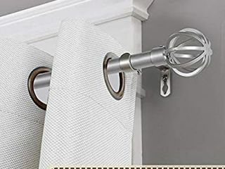 H VERSAIlTEX Decorative Window Treatment Curtain Rod Sets  3 4   Inch Diameter Curtain Rod with Round Cage Ends  Adjustable length from 48  to 84  Nickel   MISSING THE MOINTING BRACKETS AND SCREWS