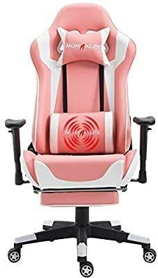 Nokaxus Gaming Chair large Size High Back Ergonomic Racing Seat with Massager lumbar Support and Retractible Footrest PU leather 90 180 Degree Adjustment of backrest Thickening sponges  YK 6008 PINK