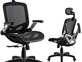 lenuages Ergonomic Office Chair  Mesh Chair with Sliding Seat and Folding Flip Up Arms  Computer Desk Chair   Adjustable Headrest  lumbar Support  Tilt Function  Swivel PU Wheels