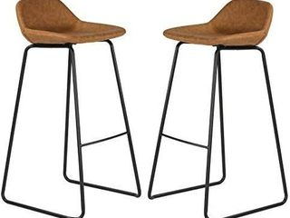 Cortesi Home Elise 30  Barstool In Saddle Brown Faux leather Set Of 2