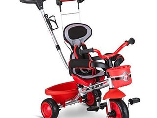 Schwinn Roadster Kids Tricycle  Easy Steer 4 in 1 Tricycle   Red 41  x 20  x 41    MISSING MUlTIPlE ATTACHMENT PIECES