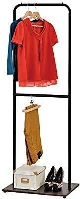 Adjustable Height Single Bar Garment Rack  Metal Pipe Design Clothes Hanger with Wood Base