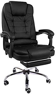 Halter Reclining leather Office Chair   Modern Executive Adjustable Rolling Swivel Chair Headrest with Retractable Footrest  Black