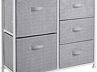 AmazonBasics Fabric 5 Drawer Storage Organizer Unit for Closet  White