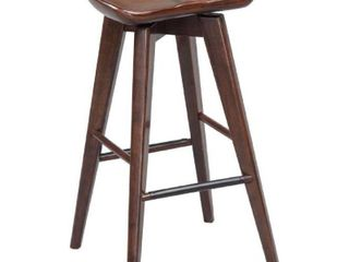 Contoured Seat Wooden Frame Swivel Barstool with Angled Legs, Natural Brown- Retail:$142.99