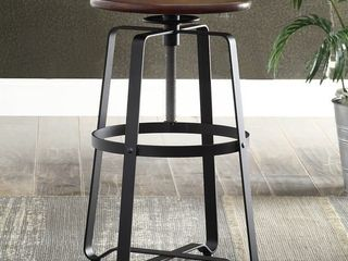 Nova Chestnut Wood Adjustable Stool with Black Metal Base- Retail:$108.49
