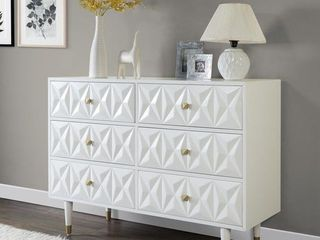 Bea White Geo-Texture 6-Drawer Dresser- Retail:$596.49