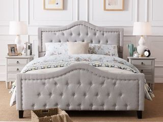Virgil Upholstered Tufted Queen Bed by Christopher Knight Home - Retail:$529.99