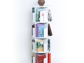White 4-Sided Revolving Media Storage Bookcase- Retail:$94.99