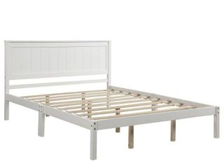 Harper & Bright Designs Wood Platform Bed with Headboard it not White it Espresso color- Retail:$387.99