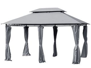 Outsunny 10' x 13' 2-Tier Steel Outdoor Garden Gazebo With Vented Soft Top Canopy And Removable Curtains, Grey - Retail:$263.99
