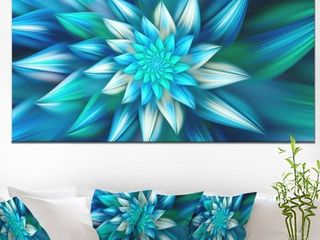 Designart 'Huge Blue Fractal Flower' Extra Large Floral Canvas Art Print- Retail:$169.99