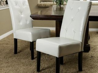 Porch & Den Carmella Bonded Leather Dining Chairs (Set of 2) - Medium- Retail:$689.49
