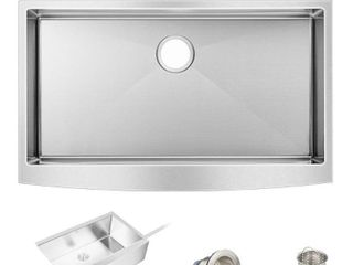 "33"" x 20"" Stainless Steel Farmhouse Apron Front Kitchen Sink Single Bowl- Retail:$265.99"