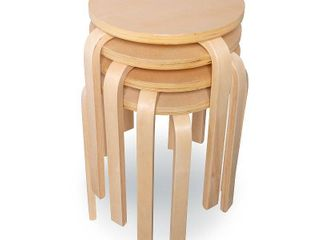 Linon Bentwood Stools, Set of 4, 17 inch Seat Height
