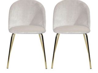 FurnitureR White Velvet With Gold Metal Legs Dining Chair, Zomba,Set of 2