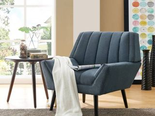 Carson Carrington Mariager Mid-century Modern Blue Velvet Arm Chair - Retail:$313.99
