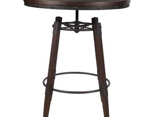 Vintage Industrial Style Adjustable Height Bar Table in Distressed Chocolate- Retail:$303.99