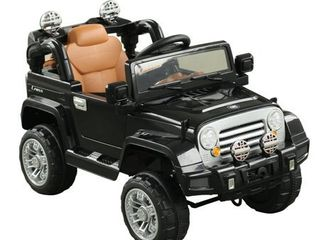 Aosom 12V Kids Electric Battery Ride On Toy Black Off Road Car Truck- Retail:$186.49