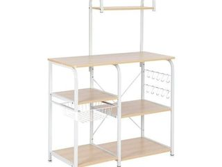 "35.5"" Kitchen Baker's Rack Utility Storage Shelf Microwave Stand Workstation with 10 Hooks(4-Tier)- Retail:$82.99"