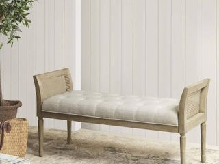Martha Stewart Isla Natural Accent Bench with Arms- Retail:$281.99