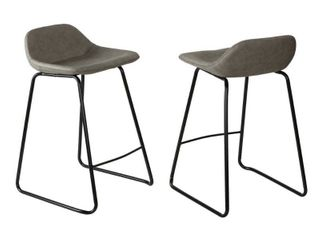 Cortesi Home Ava Counterstools In Grey Faux Leather Set Of 2 Stone