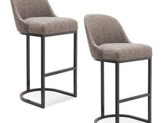 Barrelback Gray Linen Bar Stool with Espresso Metal Base Set of 2- Retail:$277.99