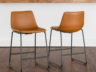 Carbon Loft Prusiner Faux Leather Bar Stool (Set of 2) - Retail:$186.49