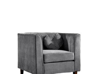 Lowery Velvet Kitts Classic Grey Chesterfield Chair
