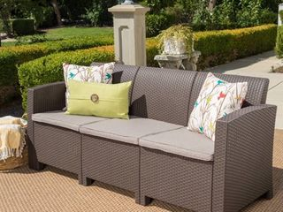 St. Paul Outdoor 3 Seater Faux Wicker Rattan Style Sofa with Water Resistant Cushions by Christopher Knight Home- Retail:$292.99