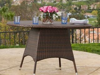 Corsica Outdoor Wicker Round Dining Table (ONLY) by Christopher Knight Home- Retail:$275.49